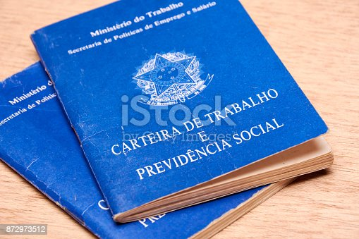 istock Brazilian social security document or workbook. 872973512