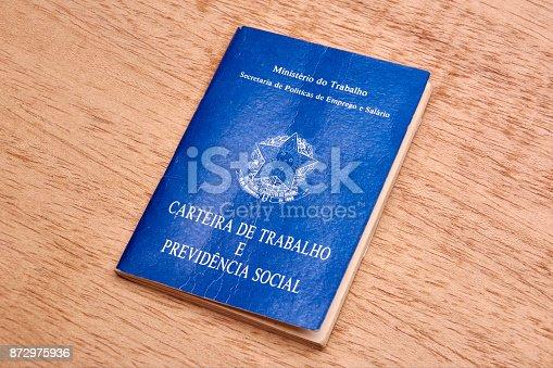872976132 istock photo Brazilian social security document or workbook. 872975936