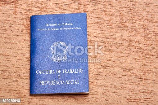 872976132 istock photo Brazilian social security document or workbook. 872975946