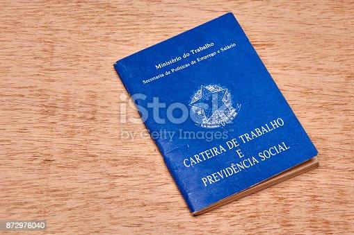 872976132 istock photo Brazilian social security document or workbook. 872976040