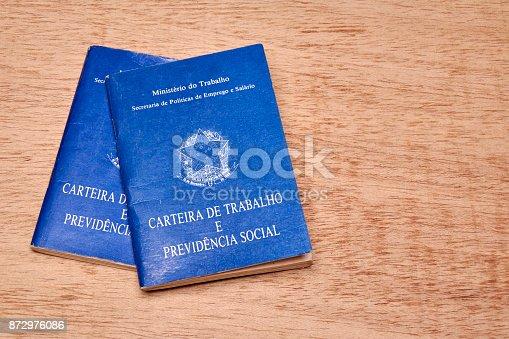 872976132 istock photo Brazilian social security document or workbook. 872976086
