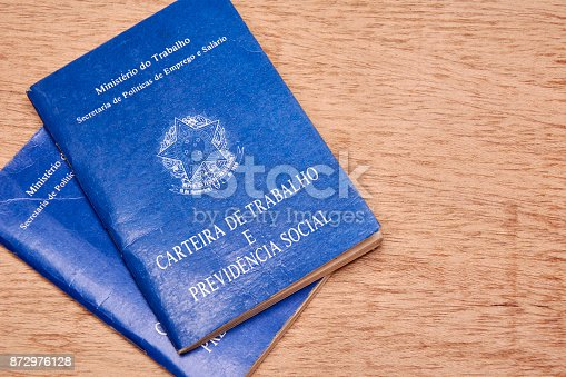 872976132 istock photo Brazilian social security document or workbook. 872976128