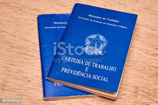 istock Brazilian social security document or workbook. 872976132