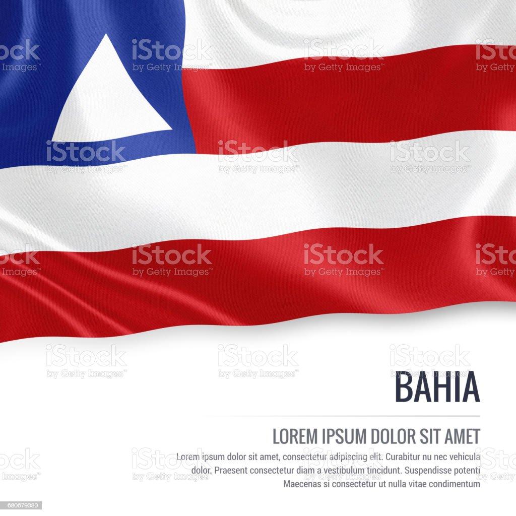 Bandeira de estado brasileiro Bahia acenando em um fundo branco isolado. Nome do estado e da área de texto de sua mensagem. - foto de acervo