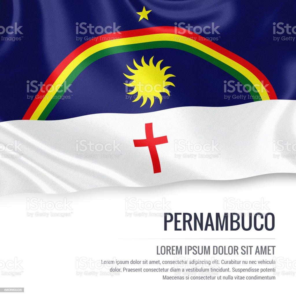 Bandeira de estado brasileiro Pernambuco acenando em um fundo branco isolado. Nome do estado e da área de texto de sua mensagem. - foto de acervo