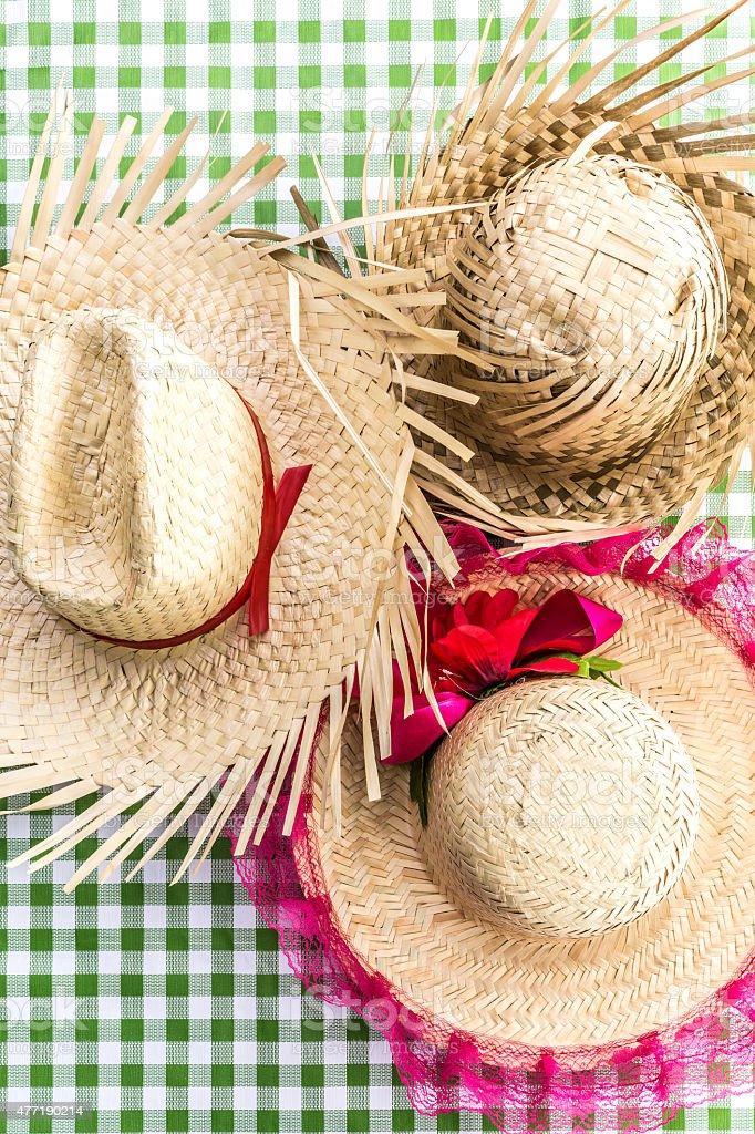 Brazilian Straw Hats on the table (Festa Junina Theme) stock photo