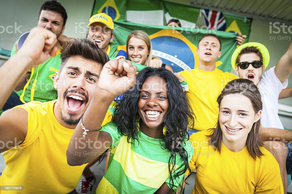 Brazilian Supporters at Stadium royalty-free stock photo