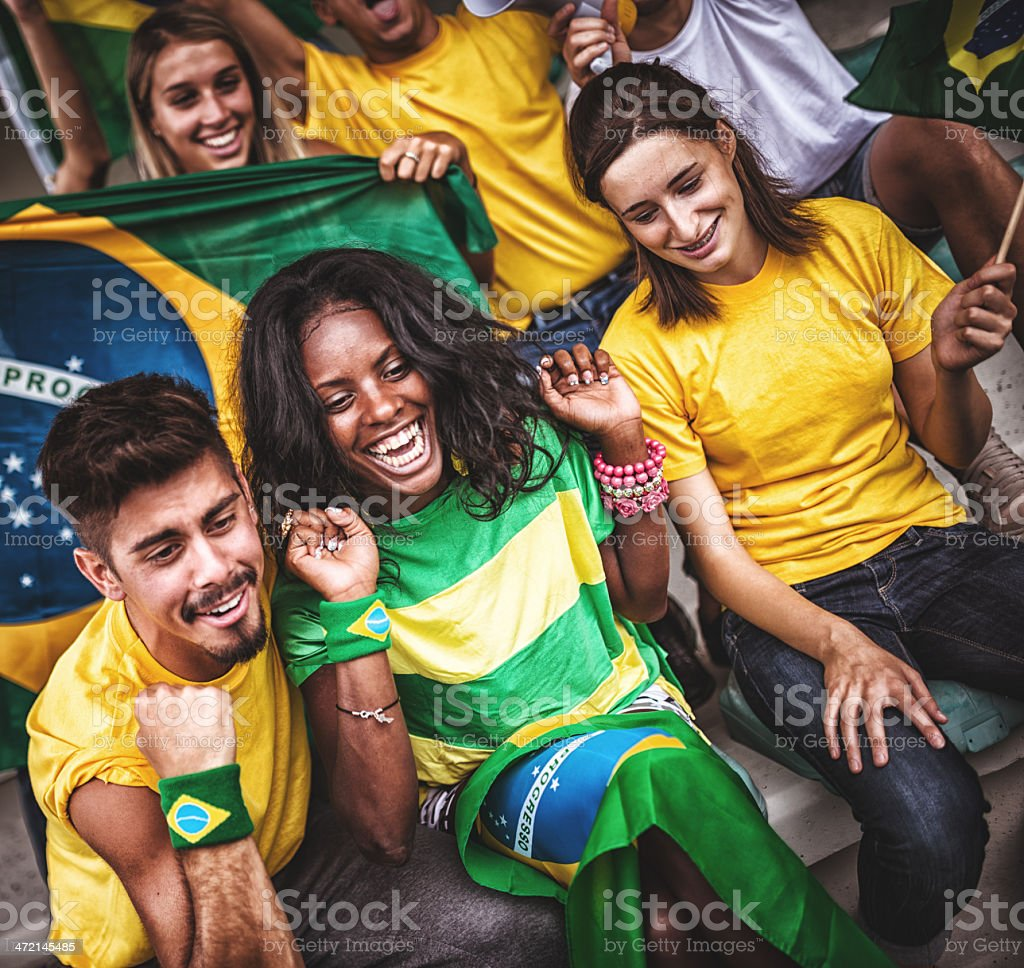 Brazilian supporters at stadium royalty-free stock photo