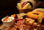 istock Brazilian traditional June Party food on dark background. 972911648