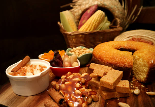 Brazilian traditional June Party food on dark background. stock photo