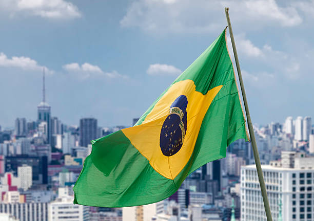 Brazilian waving flag in Sao Paulo, Brazil stock photo