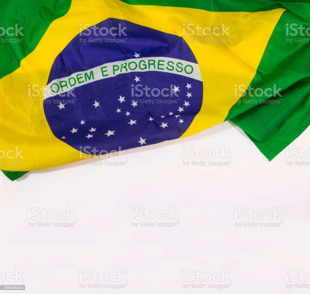 Brazilian waving flag isolated on white background. Concept Image. stock photo