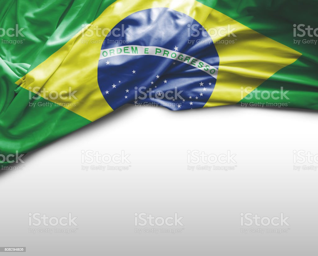 Brazilian waving flag stock photo