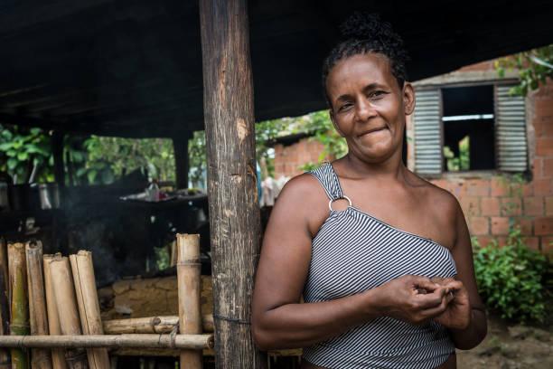 brasilianische frau in ihrem haus in der küche einen holzofen - rustikaler hinterhof stock-fotos und bilder