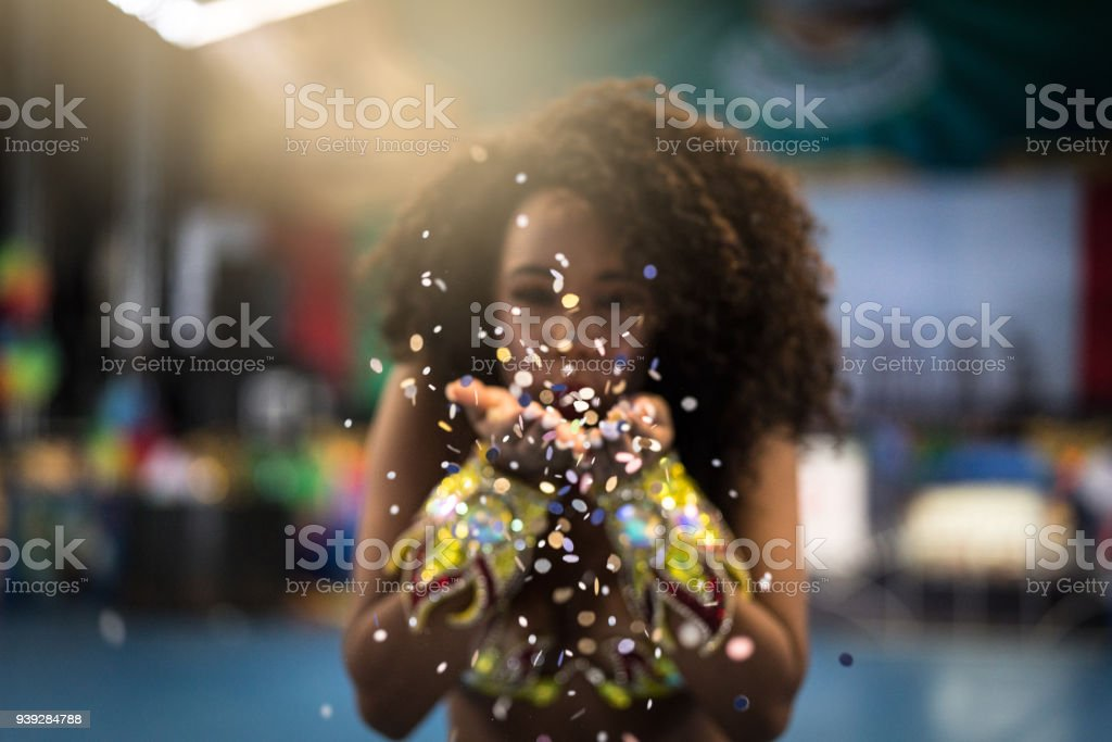 Brazilian woman celebrating the carnival stock photo