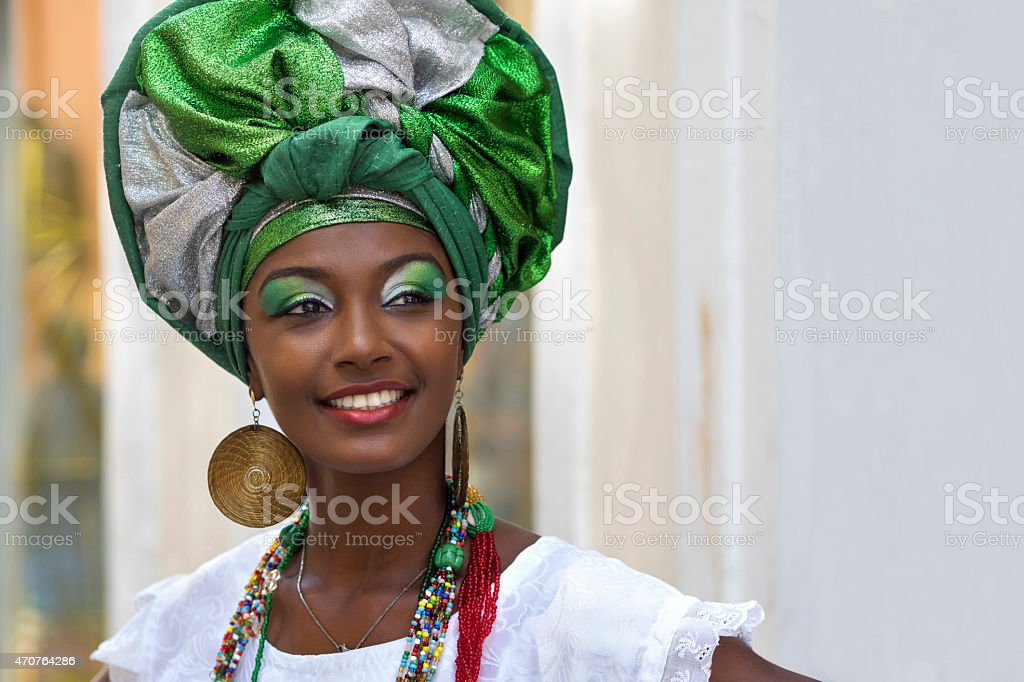 Brazilian Woman Dressed in Traditional Baiana Attire, Salvador, Bahia, Brazil stock photo