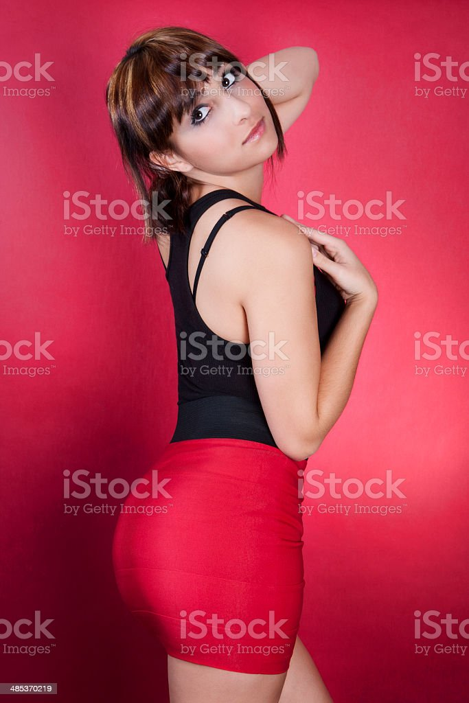 Brazilian Woman in Black Top and Pencil Skirt stock photo