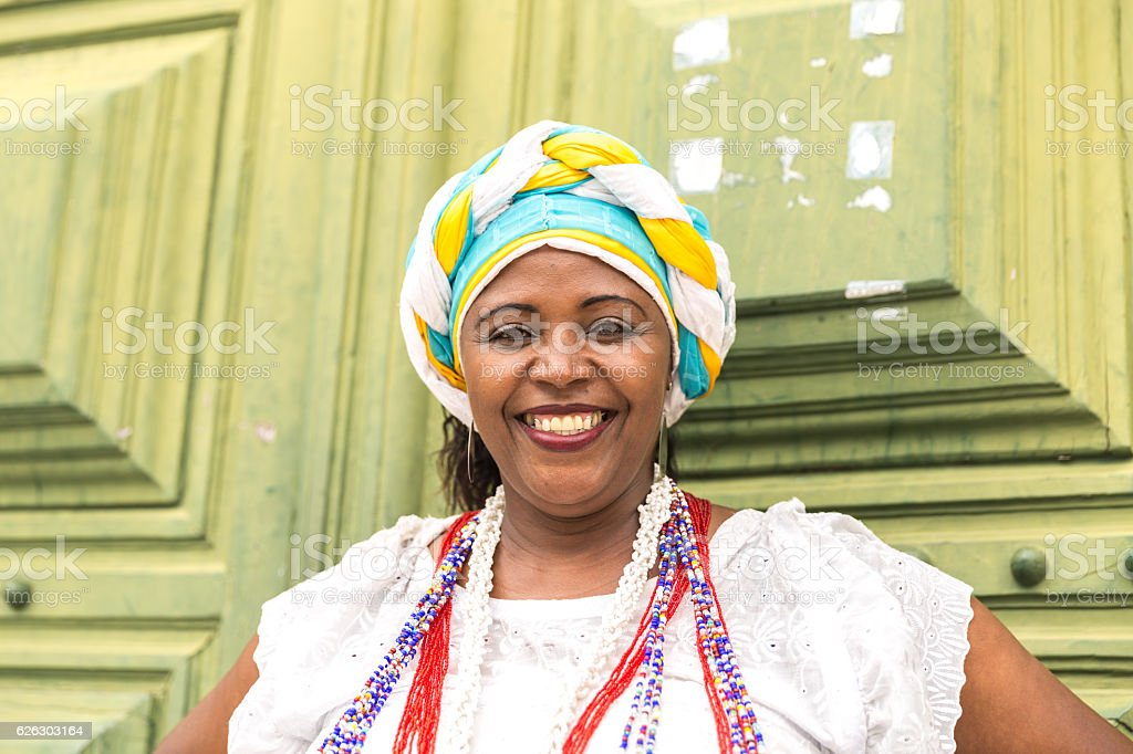 Brazilian woman (Baiana) of African descent, Bahia, Brazil stock photo