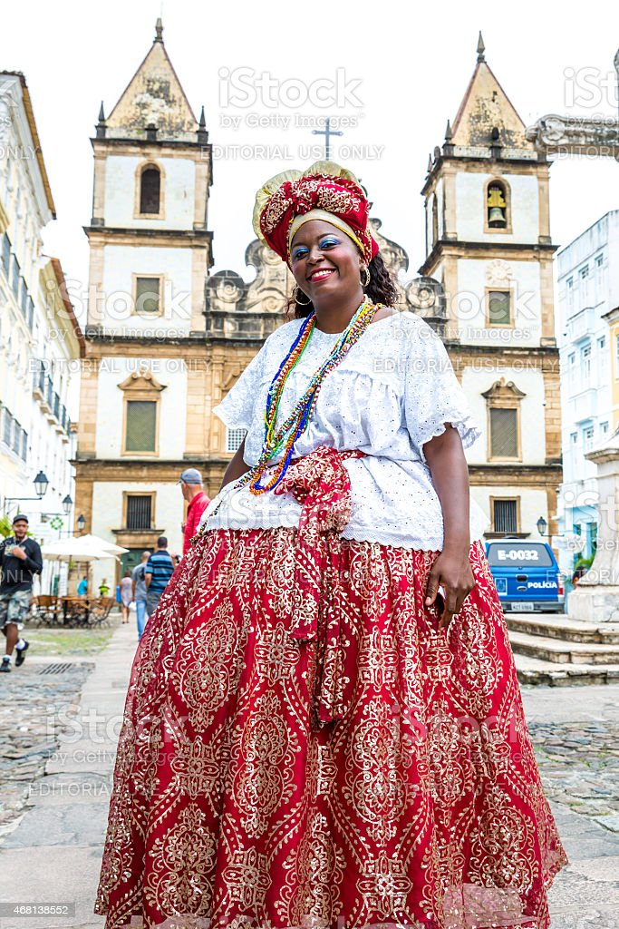 Brazil, Bahia: Baiana Ana Cristina in traditional