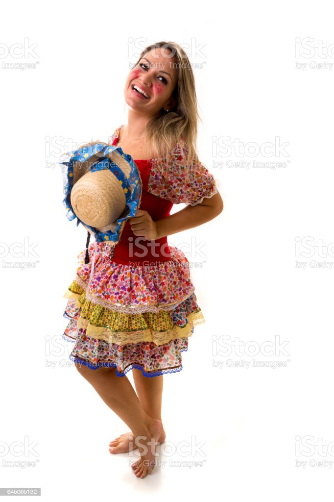 Brazilian woman on Junina Party costume - foto de acervo