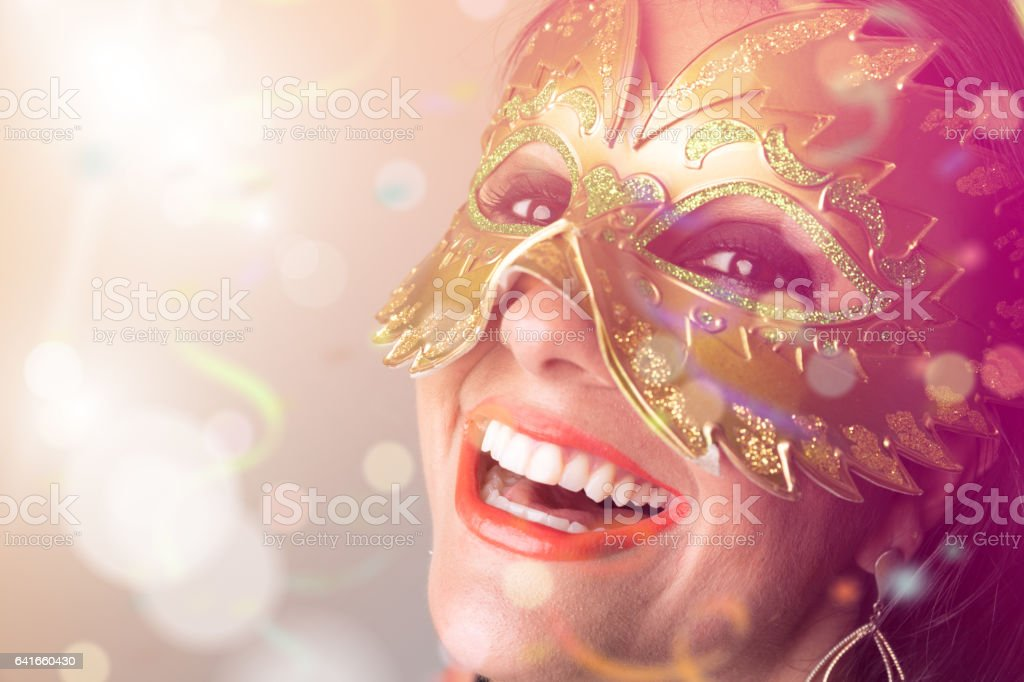 Brazilian woman wearing carnival costume stock photo