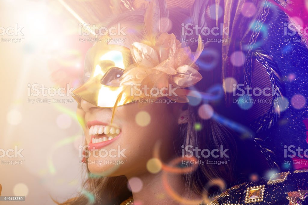 Brazilian woman wearing carnival costume stock photo