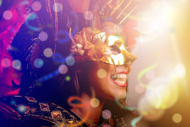 brazilian woman wearing carnival costume - carnival stock photos and pictures