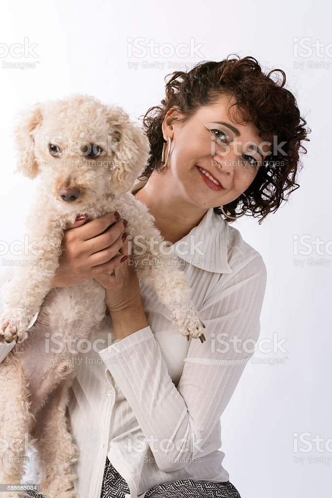 Brazilian woman with a cute dog. stock photo