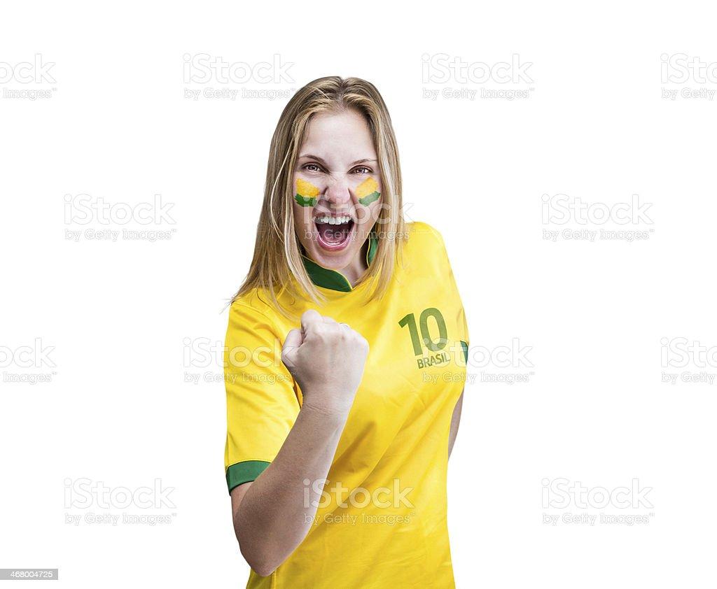 Mulher brasileira celebra sobre fundo branco com seu rosto é pintado - foto de acervo