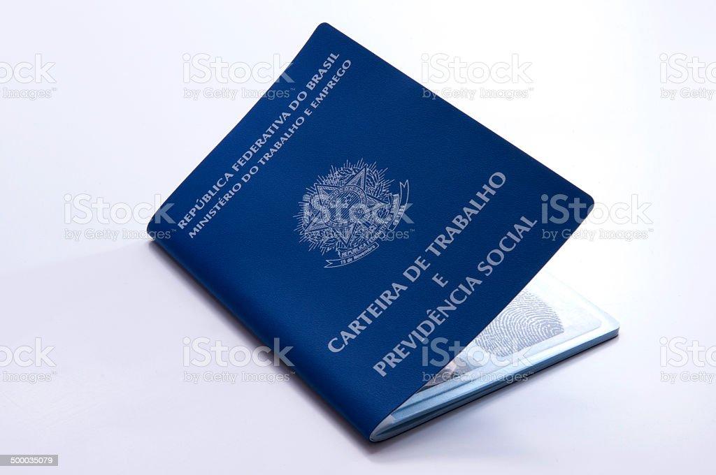 Brazilian work document and social security document (carteira de trabalho) stock photo