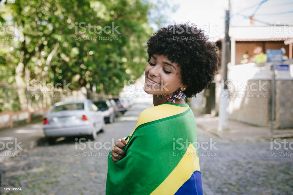 Brazilian young woman fan on the streets stock photo
