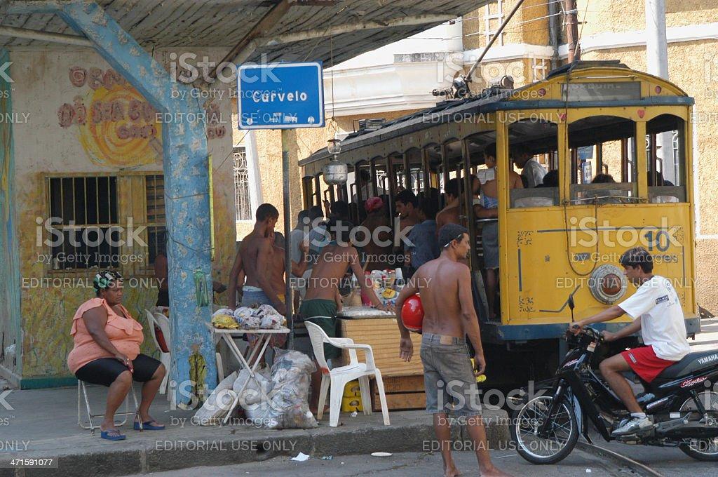 Brazilians at Tram Stop Santa Tereza Rio de Janeiro stock photo