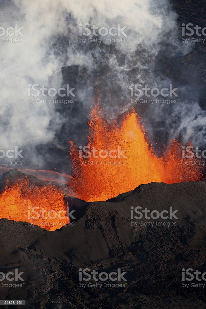 Bárdarbunga volcanic eruption, Iceland. stock photo