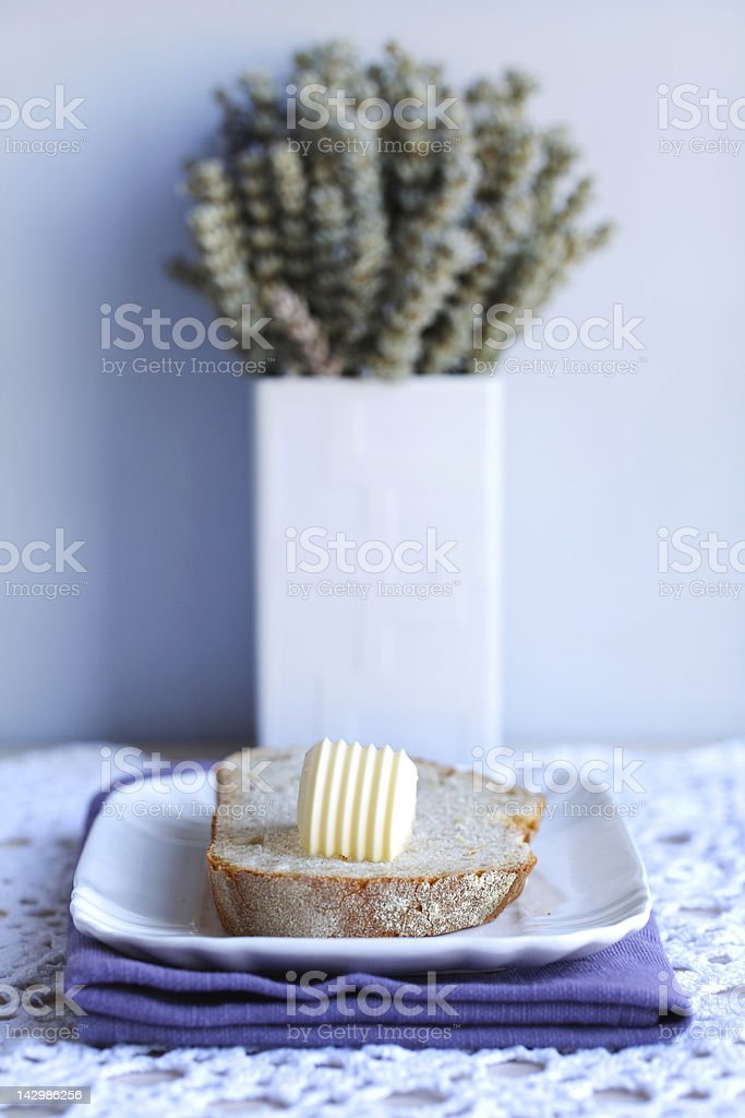 Bread and butter for breakfast stock photo