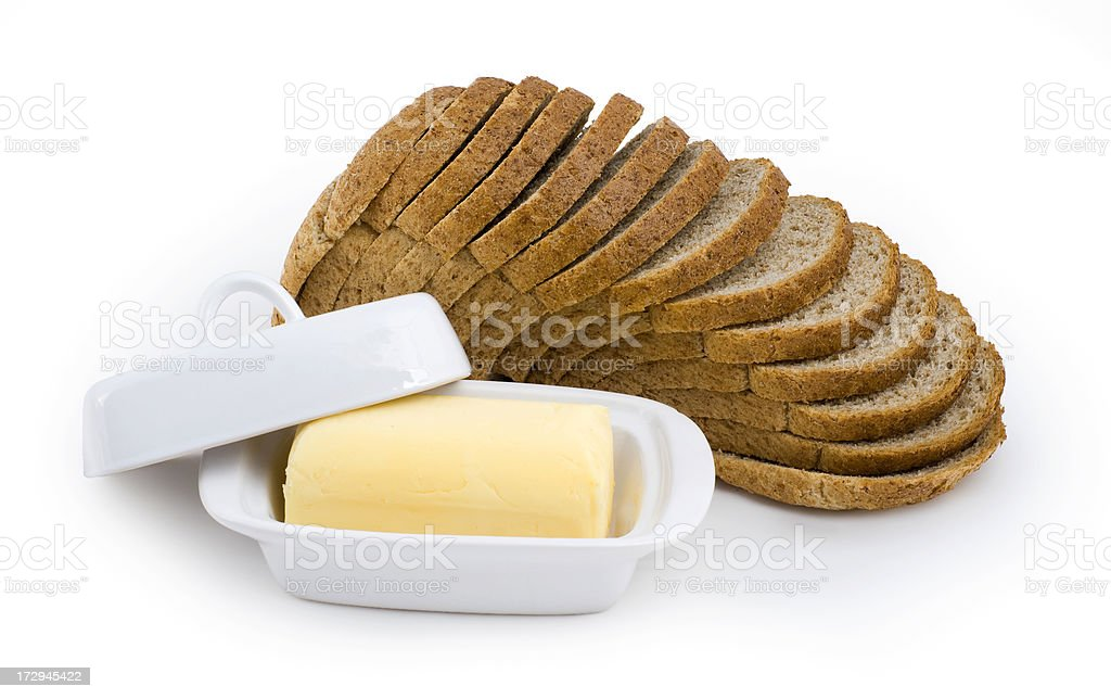 bread and butter isolated royalty-free stock photo