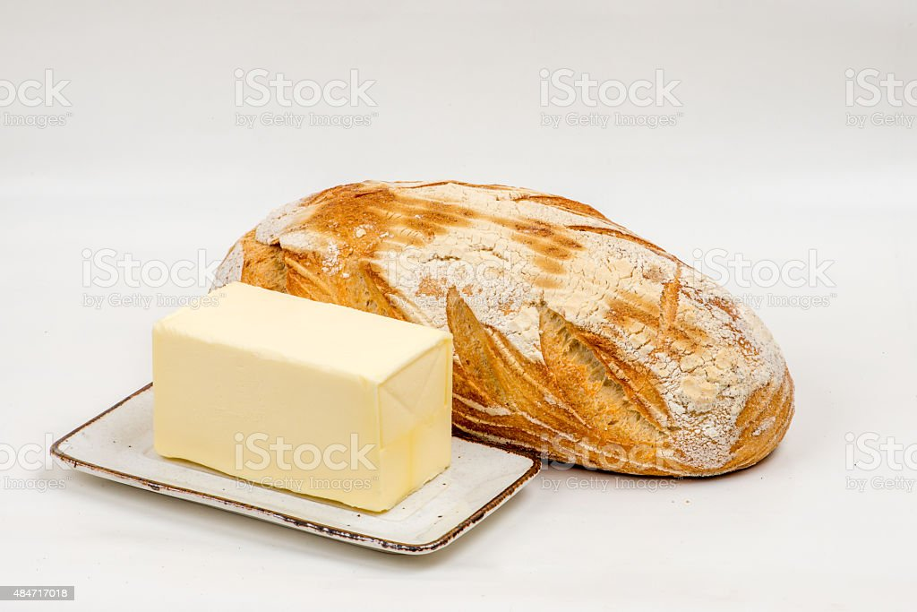 Bread and butter, isolated. stock photo