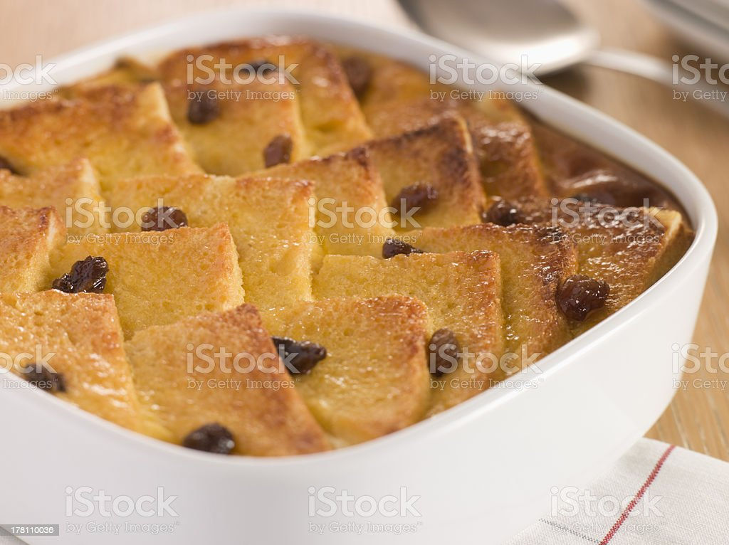 Bread and Butter Pudding in a Dish stock photo