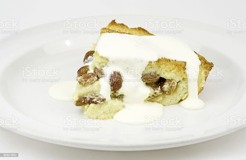 Bread And Butter Pudding With Cream stock photo