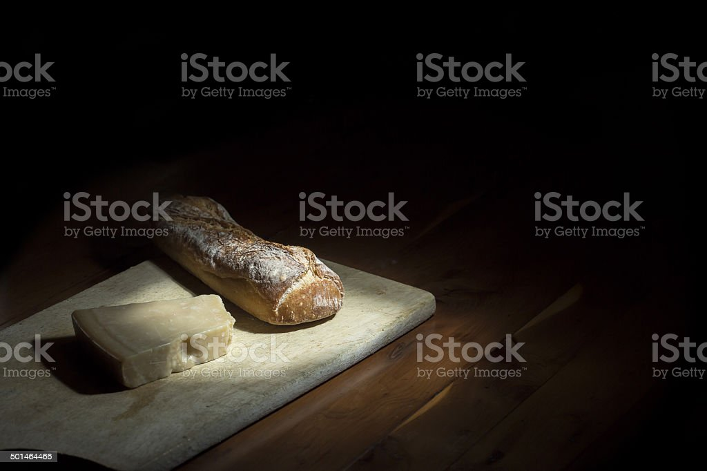 Bread and cheese stock photo