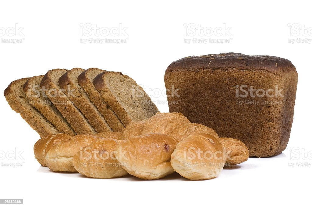 bread and croissant on white royalty-free stock photo