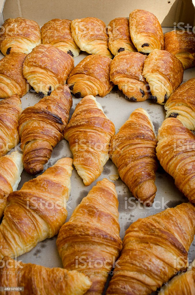 Bread and croissants stock photo