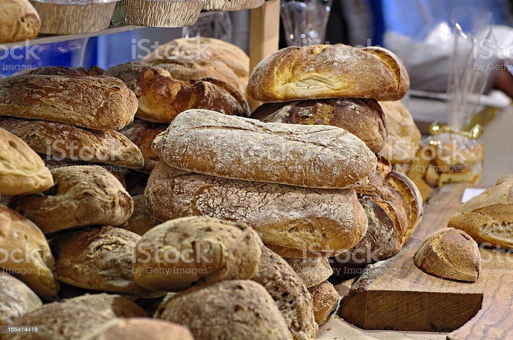 bread and focaccia stock photo