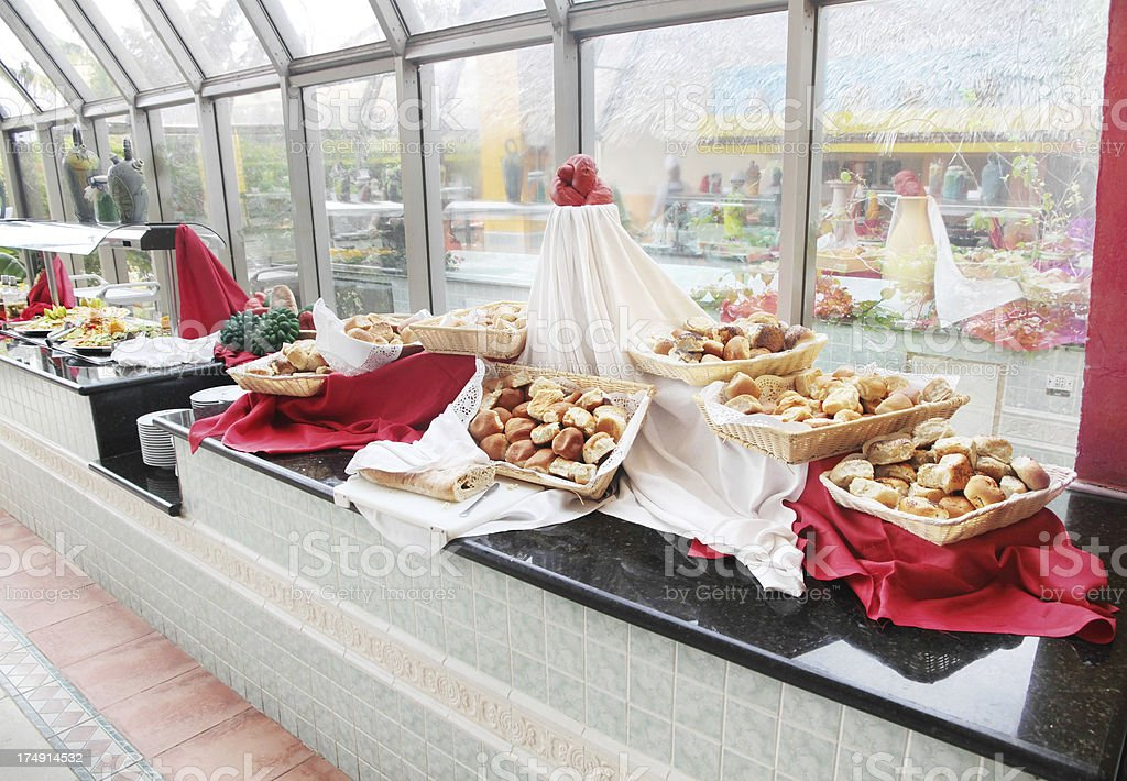 Bread and Food at Buffet stock photo