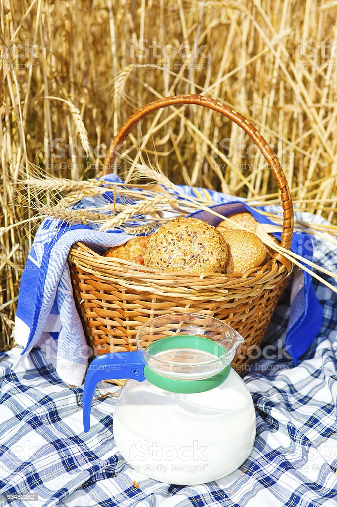 Bread and milk jug royalty-free stock photo