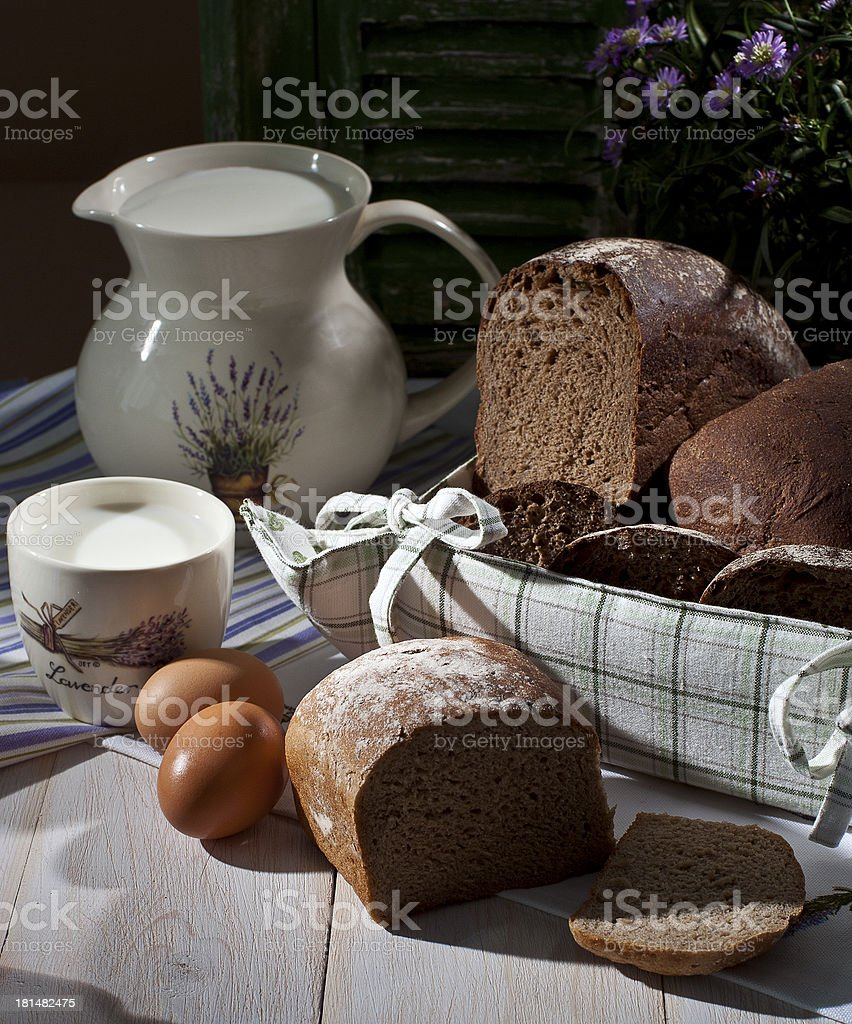 Bread and milk royalty-free stock photo