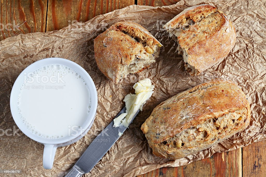Bread and milk stock photo