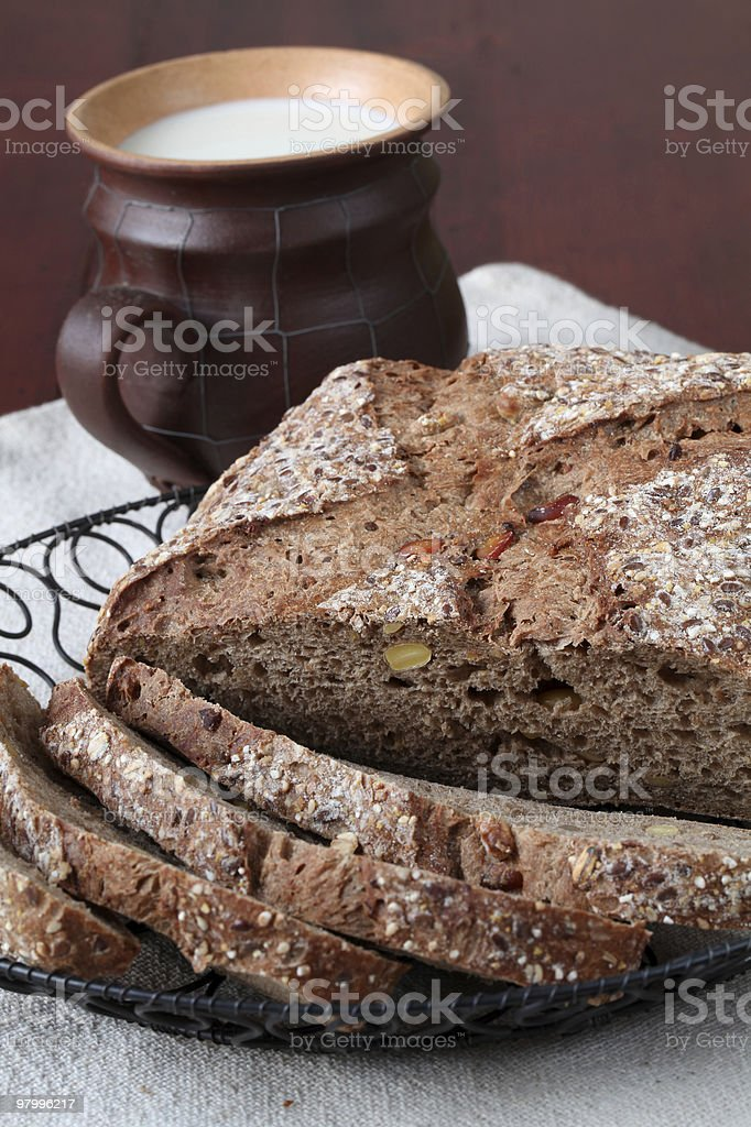 Bread and milk royalty free stockfoto