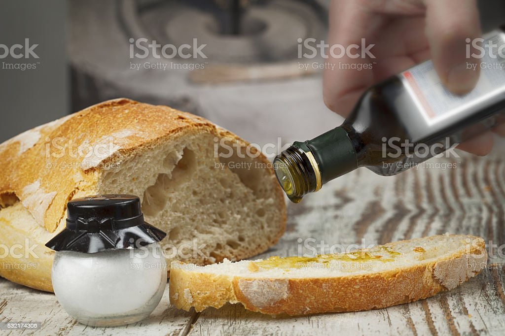 Bread and oilBread and oil Bread and oil stock photo