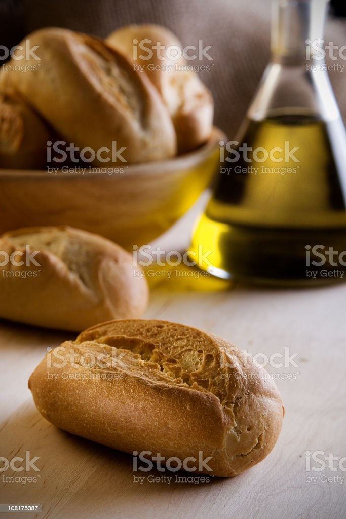 Bread and olive oil. royalty-free stock photo