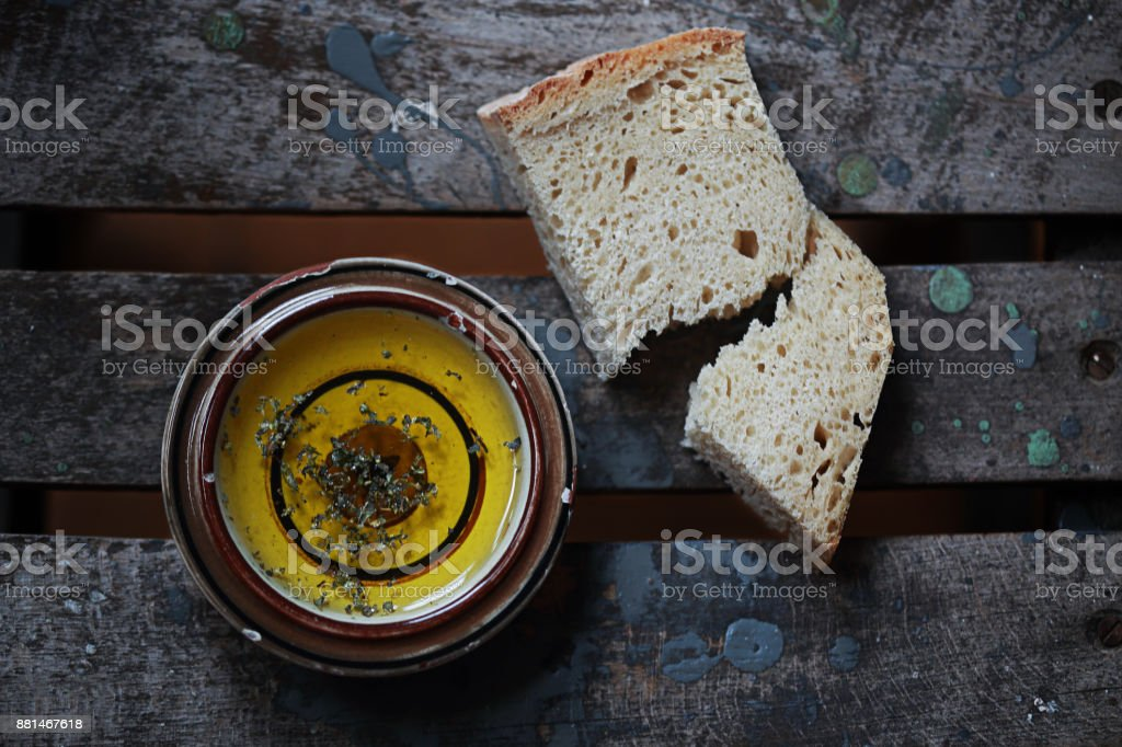 Bread and Olive Oil stock photo